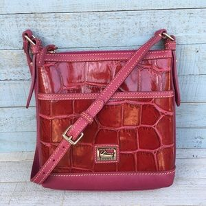 Dooney & Bourke Pink Croco Embossed Leather Bag